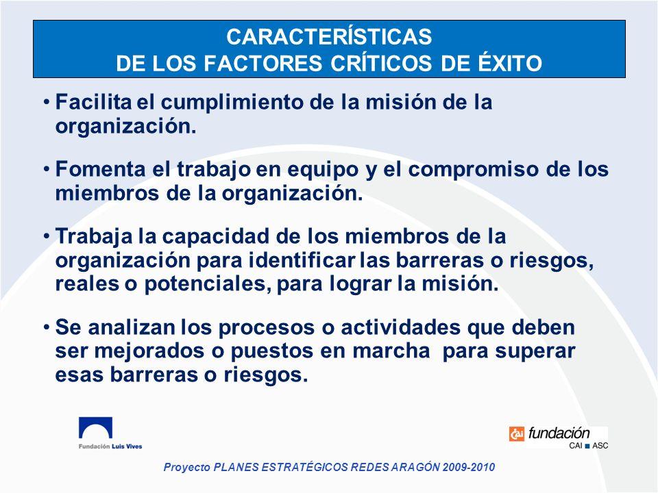 Proyecto PLANES ESTRATÉGICOS REDES ARAGÓN 2009-2010 CARACTERÍSTICAS DE LOS FACTORES CRÍTICOS DE ÉXITO Facilita el cumplimiento de la misión de la orga