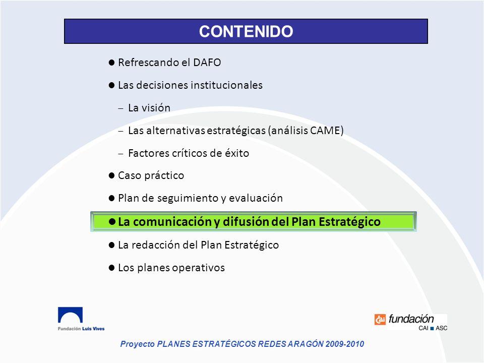 Refrescando el DAFO Las decisiones institucionales La visión Las alternativas estratégicas (análisis CAME) Factores críticos de éxito Caso práctico Pl