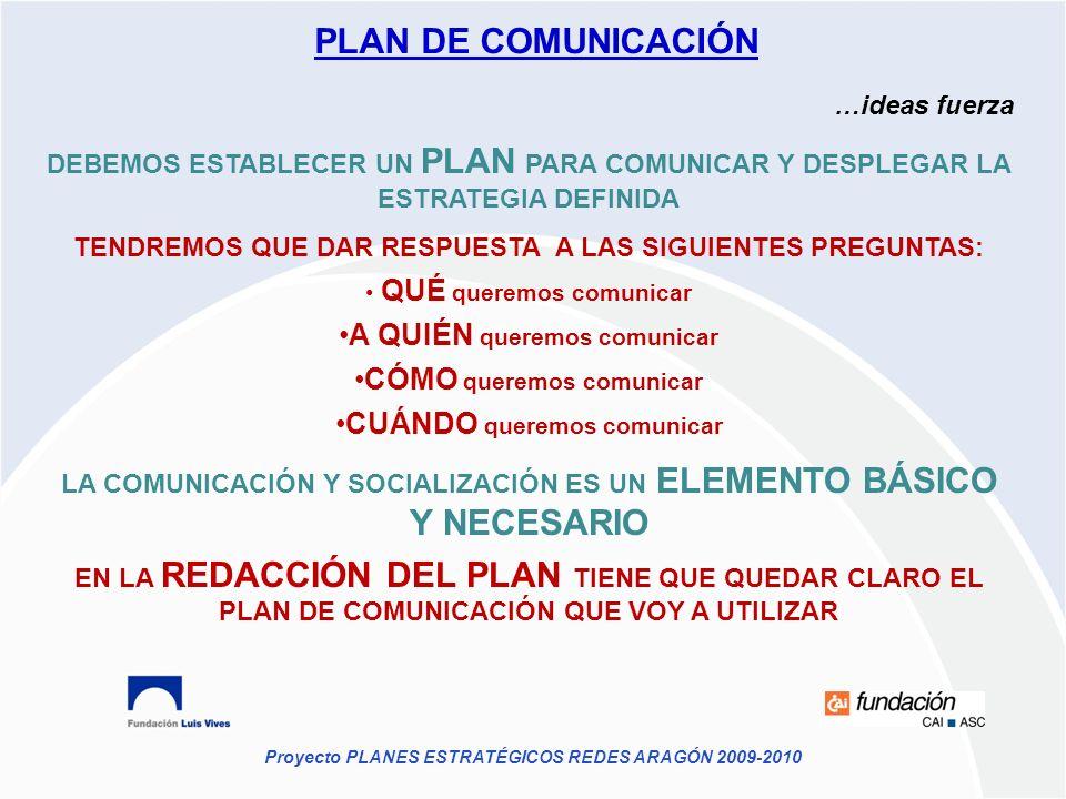 Proyecto PLANES ESTRATÉGICOS REDES ARAGÓN 2009-2010 PLAN DE COMUNICACIÓN …ideas fuerza DEBEMOS ESTABLECER UN PLAN PARA COMUNICAR Y DESPLEGAR LA ESTRAT