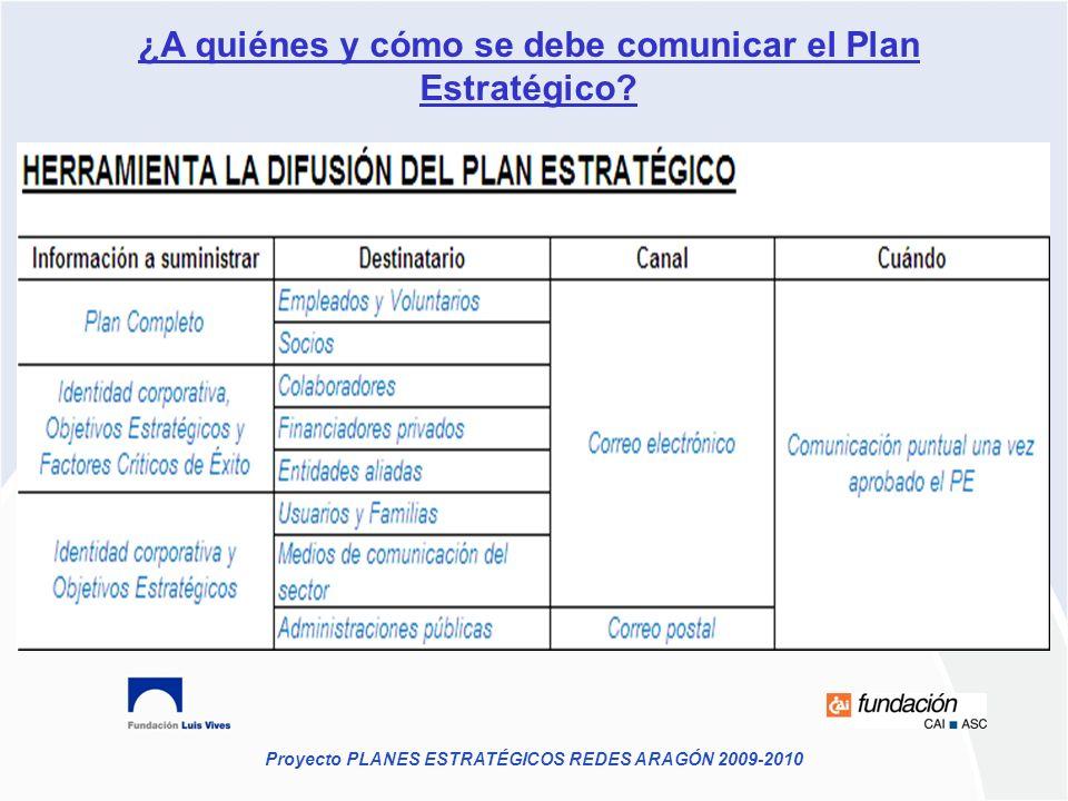 Proyecto PLANES ESTRATÉGICOS REDES ARAGÓN 2009-2010 ¿A quiénes y cómo se debe comunicar el Plan Estratégico?