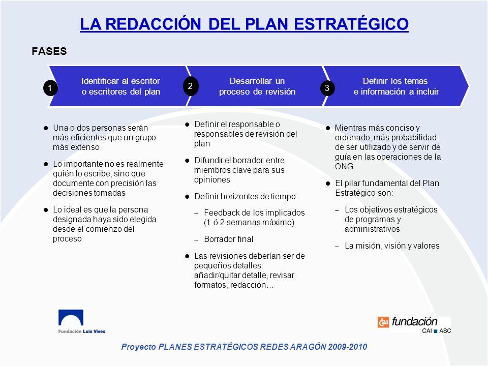 Proyecto PLANES ESTRATÉGICOS REDES ARAGÓN 2009-2010 Desarrollar un proceso de revisión Definir los temas e información a incluir Identificar al escrit