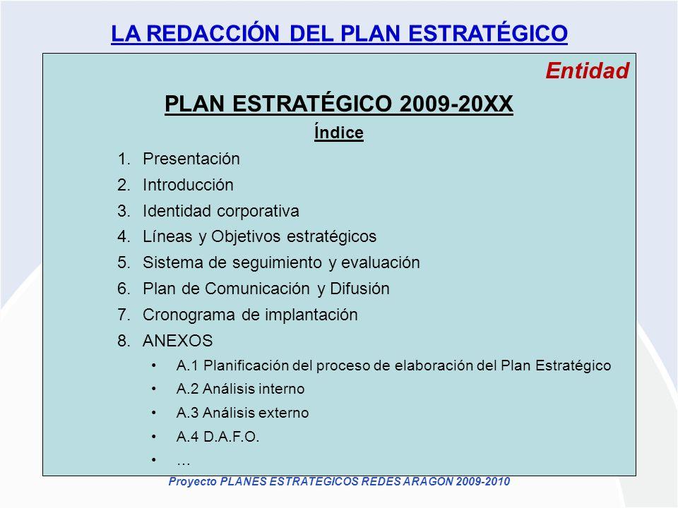 Proyecto PLANES ESTRATÉGICOS REDES ARAGÓN 2009-2010 Entidad PLAN ESTRATÉGICO 2009-20XX Índice 1.Presentación 2.Introducción 3.Identidad corporativa 4.
