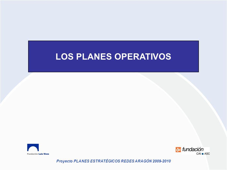 Proyecto PLANES ESTRATÉGICOS REDES ARAGÓN 2009-2010 LOS PLANES OPERATIVOS