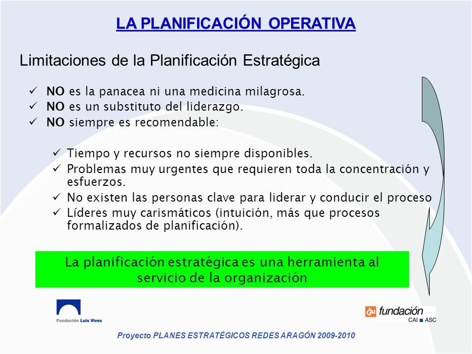 Proyecto PLANES ESTRATÉGICOS REDES ARAGÓN 2009-2010 Limitaciones de la Planificación Estratégica NO es la panacea ni una medicina milagrosa. NO es un