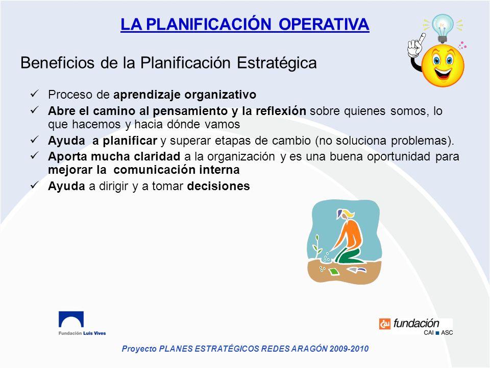 Proyecto PLANES ESTRATÉGICOS REDES ARAGÓN 2009-2010 Beneficios de la Planificación Estratégica Proceso de aprendizaje organizativo Abre el camino al p