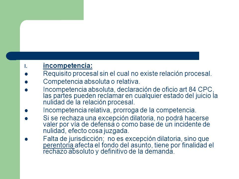 I.incompetencia: Requisito procesal sin el cual no existe relación procesal.