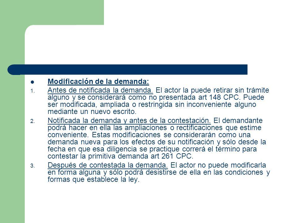 Modificación de la demanda: 1.Antes de notificada la demanda.