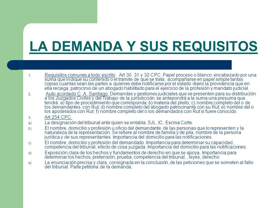 LA DEMANDA Y SUS REQUISITOS 1.Requisitos comunes a todo escrito.