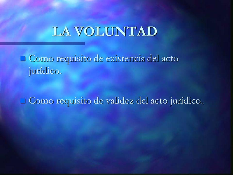 LA VOLUNTAD n Como requisito de existencia del acto jurídico. n Como requisito de validez del acto jurídico.