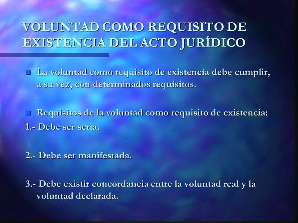 VOLUNTAD COMO REQUISITO DE EXISTENCIA DEL ACTO JURÍDICO n La voluntad como requisito de existencia debe cumplir, a su vez, con determinados requisitos