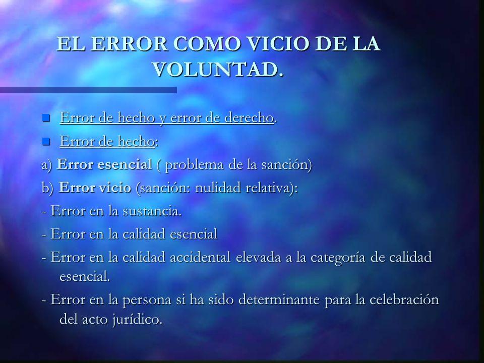 EL ERROR COMO VICIO DE LA VOLUNTAD. n Error de hecho y error de derecho. n Error de hecho: a) Error esencial ( problema de la sanción) b) Error vicio