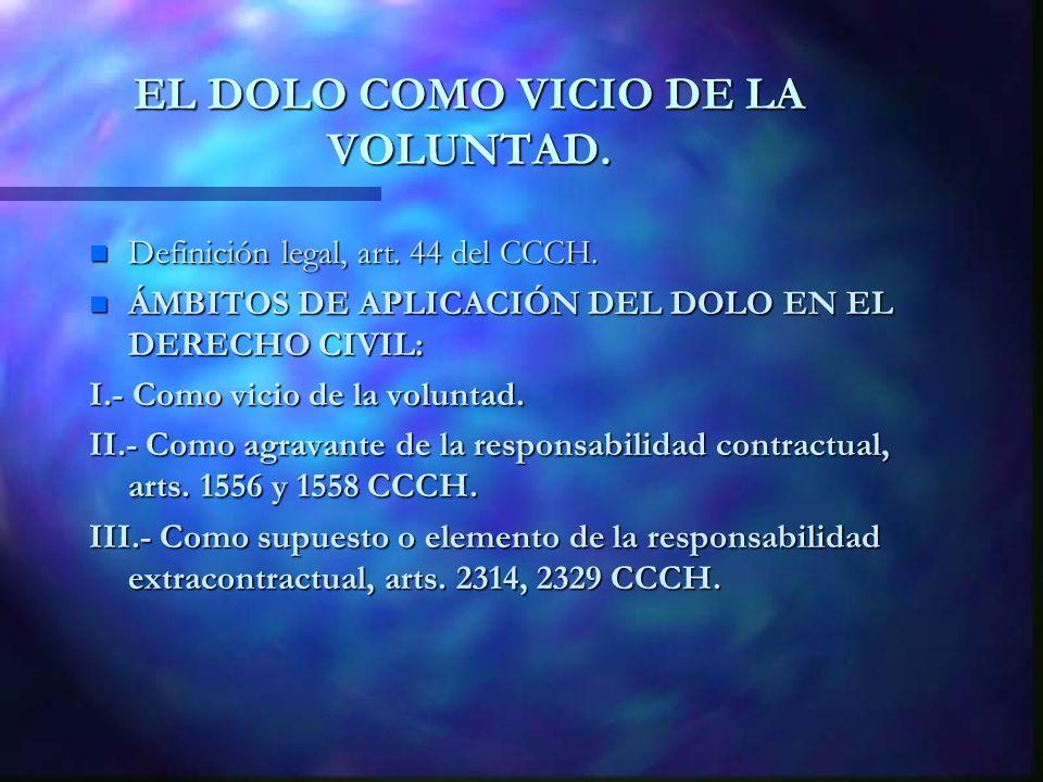 EL DOLO COMO VICIO DE LA VOLUNTAD. n Definición legal, art. 44 del CCCH. n ÁMBITOS DE APLICACIÓN DEL DOLO EN EL DERECHO CIVIL: I.- Como vicio de la vo
