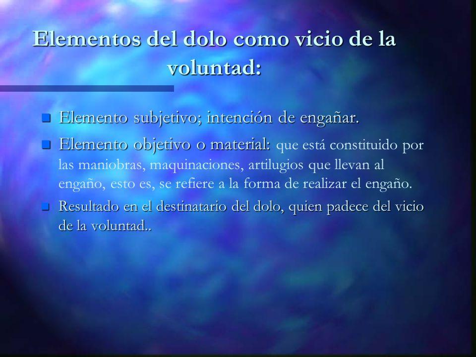 Elementos del dolo como vicio de la voluntad: n Elemento subjetivo; intención de engañar. n Elemento objetivo o material: n Elemento objetivo o materi