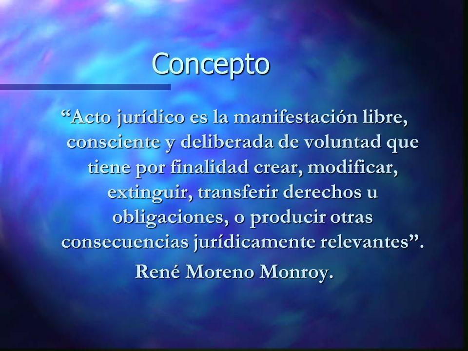Concepto Acto jurídico es la manifestación libre, consciente y deliberada de voluntad que tiene por finalidad crear, modificar, extinguir, transferir