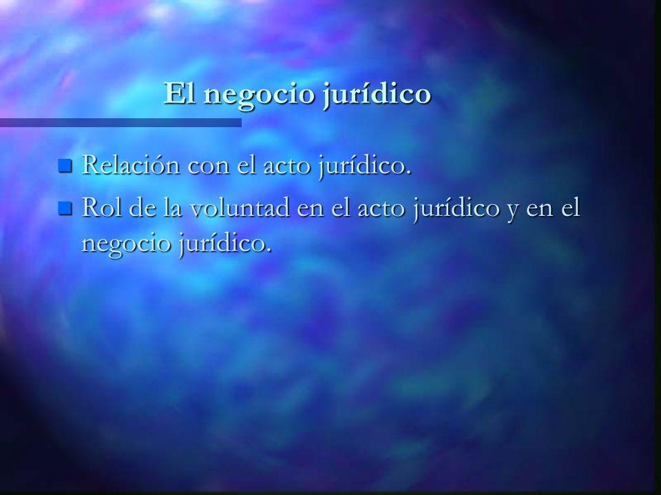 El negocio jurídico n Relación con el acto jurídico. n Rol de la voluntad en el acto jurídico y en el negocio jurídico.