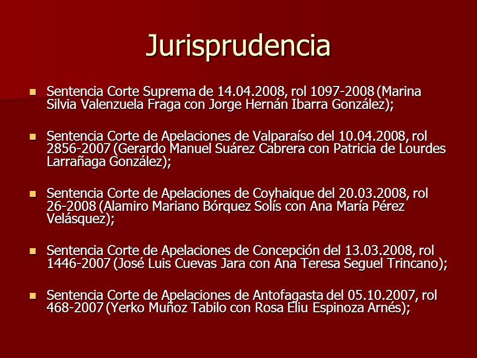 Jurisprudencia Sentencia Corte Suprema de 14.04.2008, rol 1097-2008 (Marina Silvia Valenzuela Fraga con Jorge Hernán Ibarra González); Sentencia Corte
