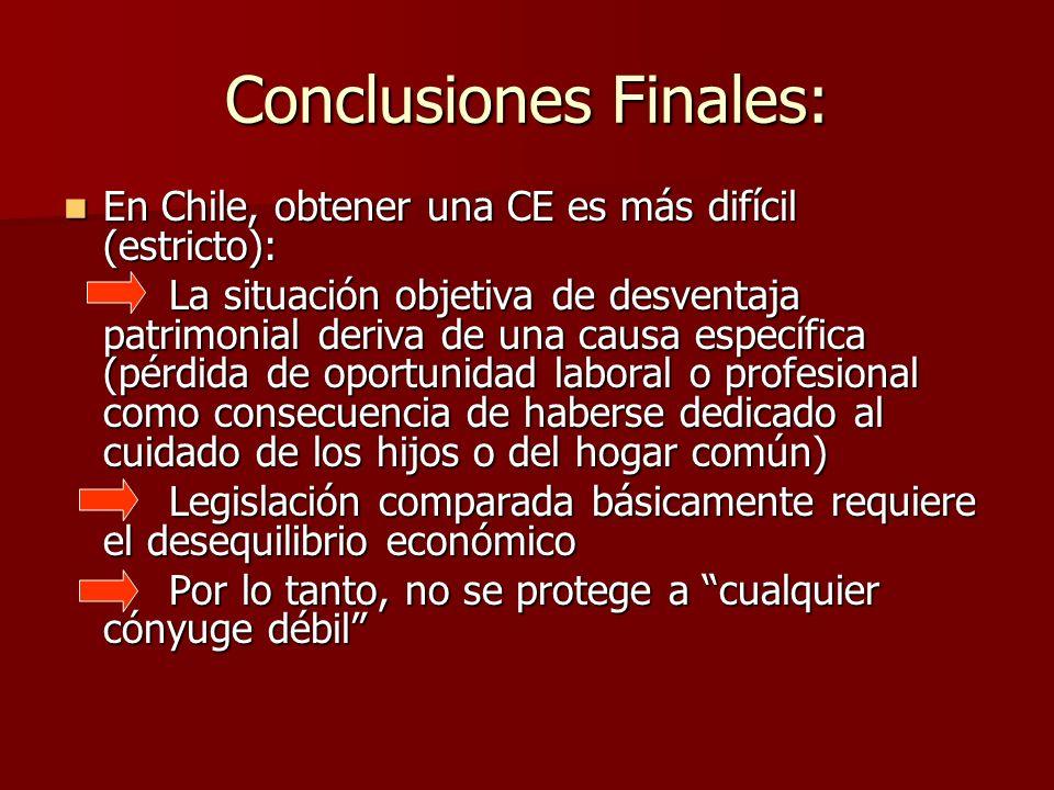 Conclusiones Finales: En Chile, obtener una CE es más difícil (estricto): En Chile, obtener una CE es más difícil (estricto): La situación objetiva de