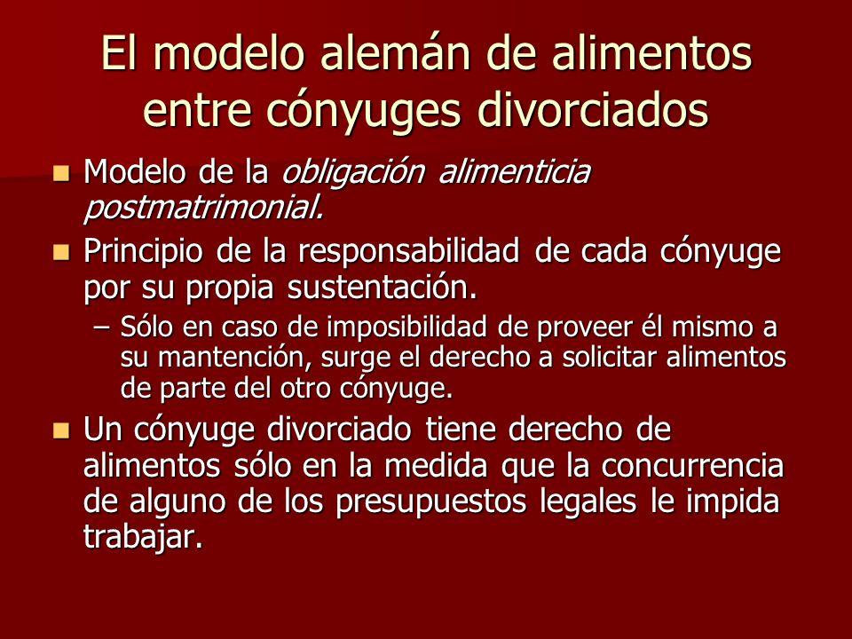 El modelo alemán de alimentos entre cónyuges divorciados Modelo de la obligación alimenticia postmatrimonial. Modelo de la obligación alimenticia post