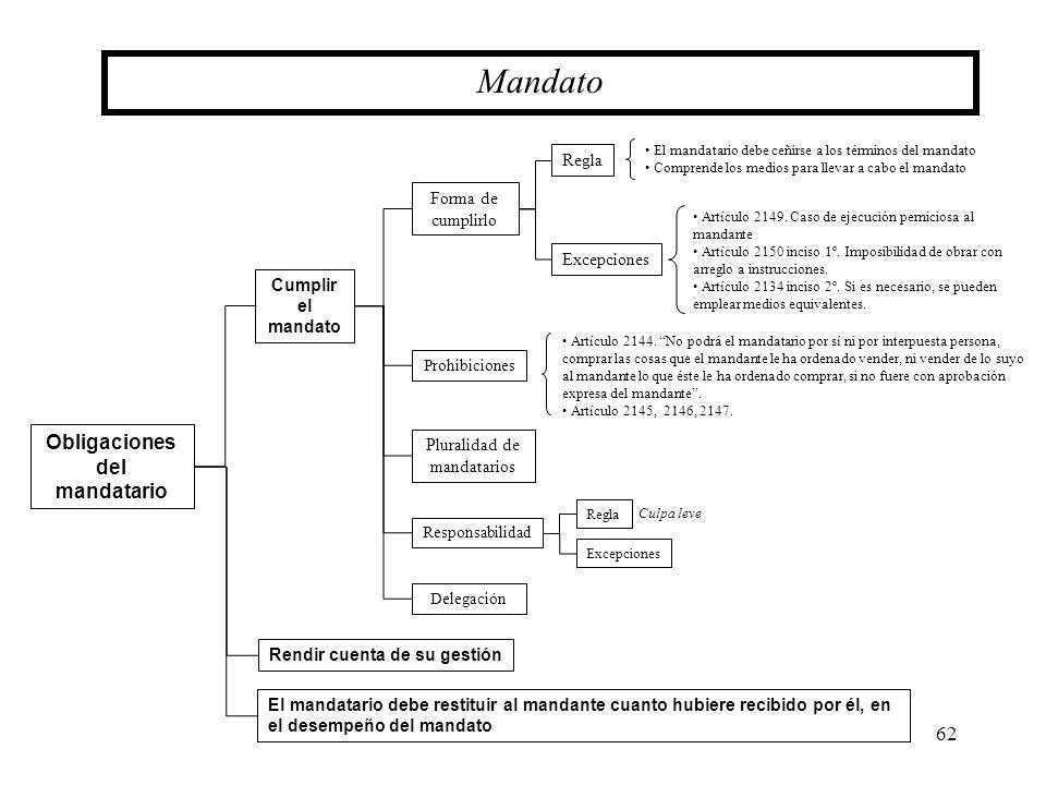 62 Obligaciones del mandatario Mandato Cumplir el mandato Forma de cumplirlo Pluralidad de mandatarios Prohibiciones Rendir cuenta de su gestión Excep