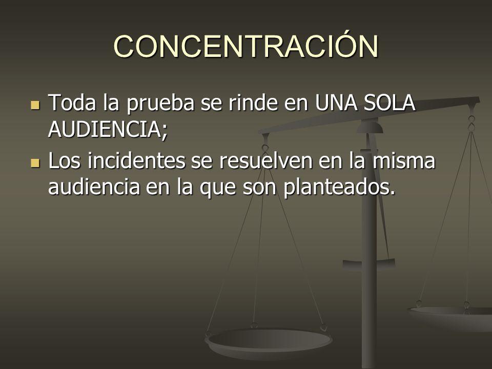CONCENTRACIÓN Toda la prueba se rinde en UNA SOLA AUDIENCIA; Toda la prueba se rinde en UNA SOLA AUDIENCIA; Los incidentes se resuelven en la misma au