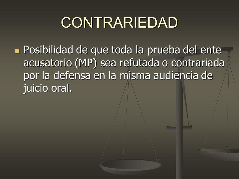 CONTRARIEDAD Posibilidad de que toda la prueba del ente acusatorio (MP) sea refutada o contrariada por la defensa en la misma audiencia de juicio oral