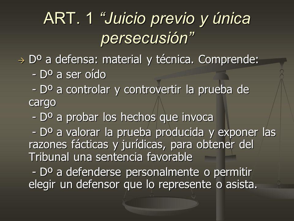 ART. 1 Juicio previo y única persecusión Dº a defensa: material y técnica. Comprende: Dº a defensa: material y técnica. Comprende: - Dº a ser oído - D