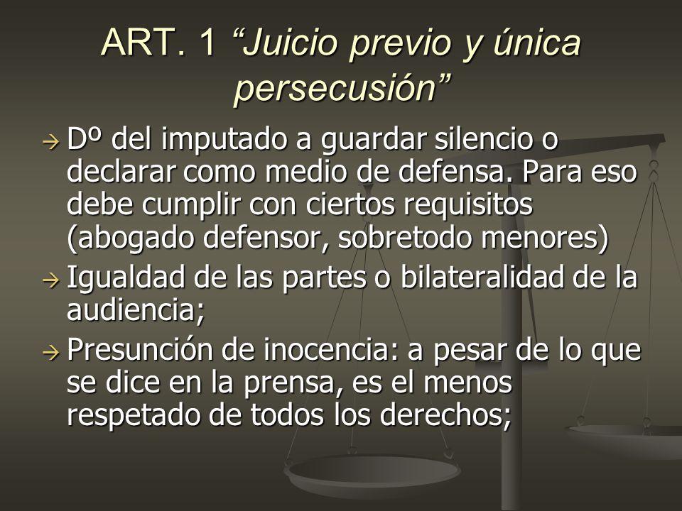 ART. 1 Juicio previo y única persecusión Dº del imputado a guardar silencio o declarar como medio de defensa. Para eso debe cumplir con ciertos requis
