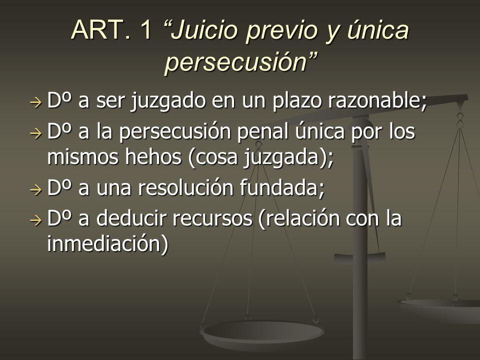 ART. 1 Juicio previo y única persecusión Dº a ser juzgado en un plazo razonable; Dº a ser juzgado en un plazo razonable; Dº a la persecusión penal úni