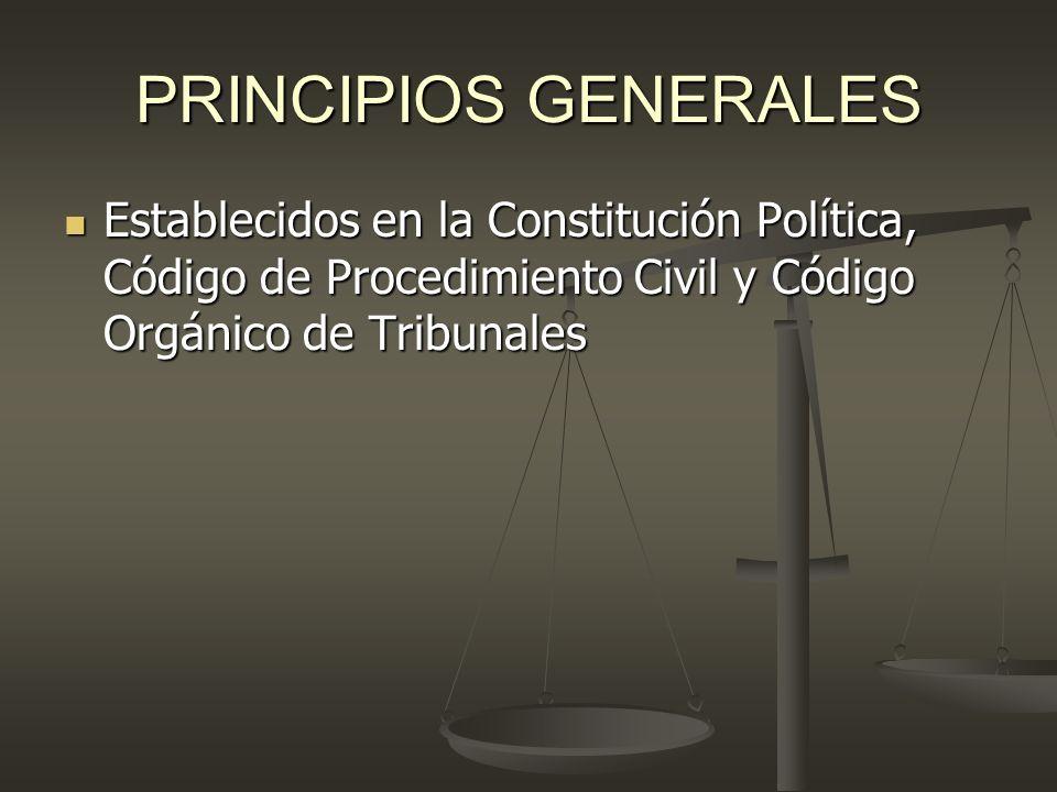 PRINCIPIOS GENERALES Establecidos en la Constitución Política, Código de Procedimiento Civil y Código Orgánico de Tribunales Establecidos en la Consti