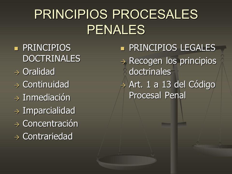 PRINCIPIOS PROCESALES PENALES PRINCIPIOS DOCTRINALES PRINCIPIOS DOCTRINALES Oralidad Oralidad Continuidad Continuidad Inmediación Inmediación Imparcia
