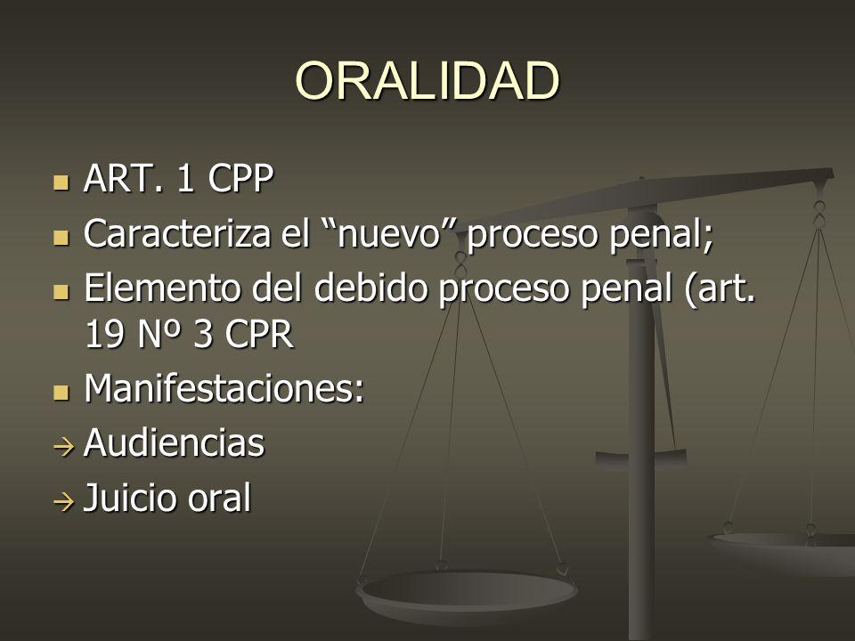 ORALIDAD ART. 1 CPP ART. 1 CPP Caracteriza el nuevo proceso penal; Caracteriza el nuevo proceso penal; Elemento del debido proceso penal (art. 19 Nº 3