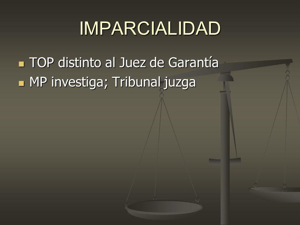 IMPARCIALIDAD TOP distinto al Juez de Garantía TOP distinto al Juez de Garantía MP investiga; Tribunal juzga MP investiga; Tribunal juzga