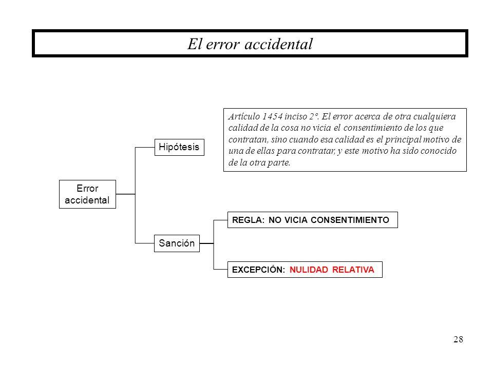 28 El error accidental Error accidental Hipótesis Sanción Artículo 1454 inciso 2º. El error acerca de otra cualquiera calidad de la cosa no vicia el c