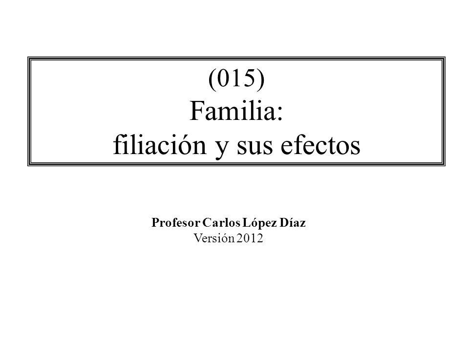 (015) Familia: filiación y sus efectos Profesor Carlos López Díaz Versión 2012