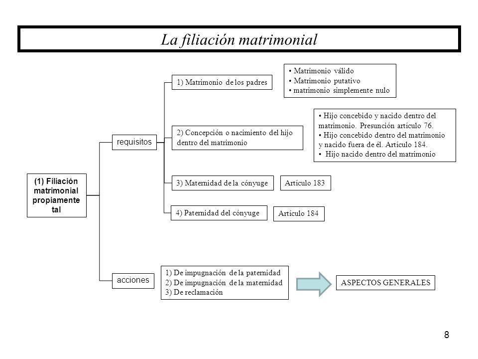 (1) Filiación matrimonial propiamente tal requisitos 4) Paternidad del cónyuge acciones 1) De impugnación de la paternidad 2) De impugnación de la mat