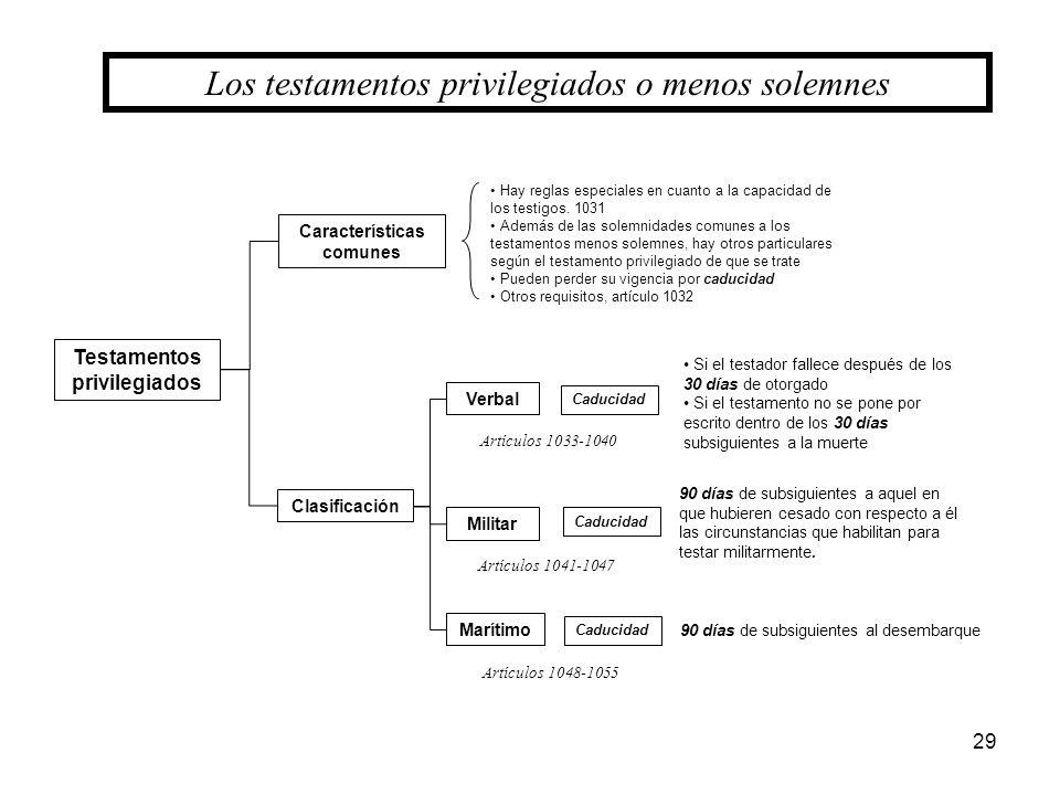 29 Los testamentos privilegiados o menos solemnes Testamentos privilegiados Características comunes Clasificación Verbal Militar Marítimo Hay reglas e