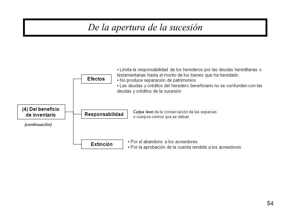 54 (4) Del beneficio de inventario De la apertura de la sucesión Efectos Responsabilidad Extinción (continuación) Limita la responsabilidad de los her