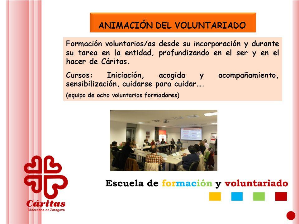 ANIMACIÓN DEL VOLUNTARIADO Formación voluntarios/as desde su incorporación y durante su tarea en la entidad, profundizando en el ser y en el hacer de Cáritas.