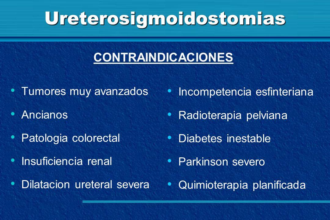 Ureterosigmoidostomias Tumores muy avanzados Ancianos Patologia colorectal Insuficiencia renal Dilatacion ureteral severa CONTRAINDICACIONES Incompete