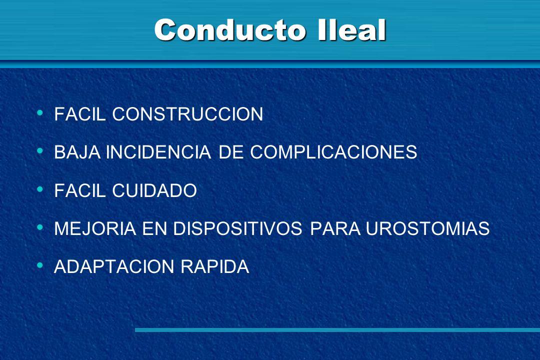 Conducto Ileal FACIL CONSTRUCCION BAJA INCIDENCIA DE COMPLICACIONES FACIL CUIDADO MEJORIA EN DISPOSITIVOS PARA UROSTOMIAS ADAPTACION RAPIDA