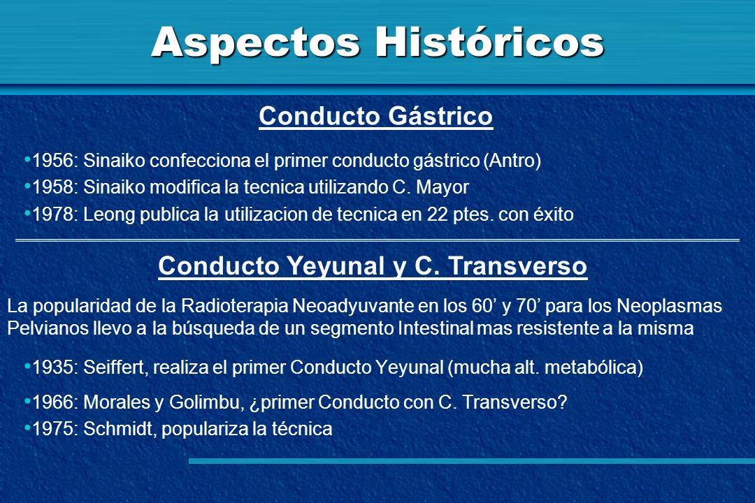 Aspectos Históricos 1956: Sinaiko confecciona el primer conducto gástrico (Antro) 1958: Sinaiko modifica la tecnica utilizando C. Mayor 1978: Leong pu