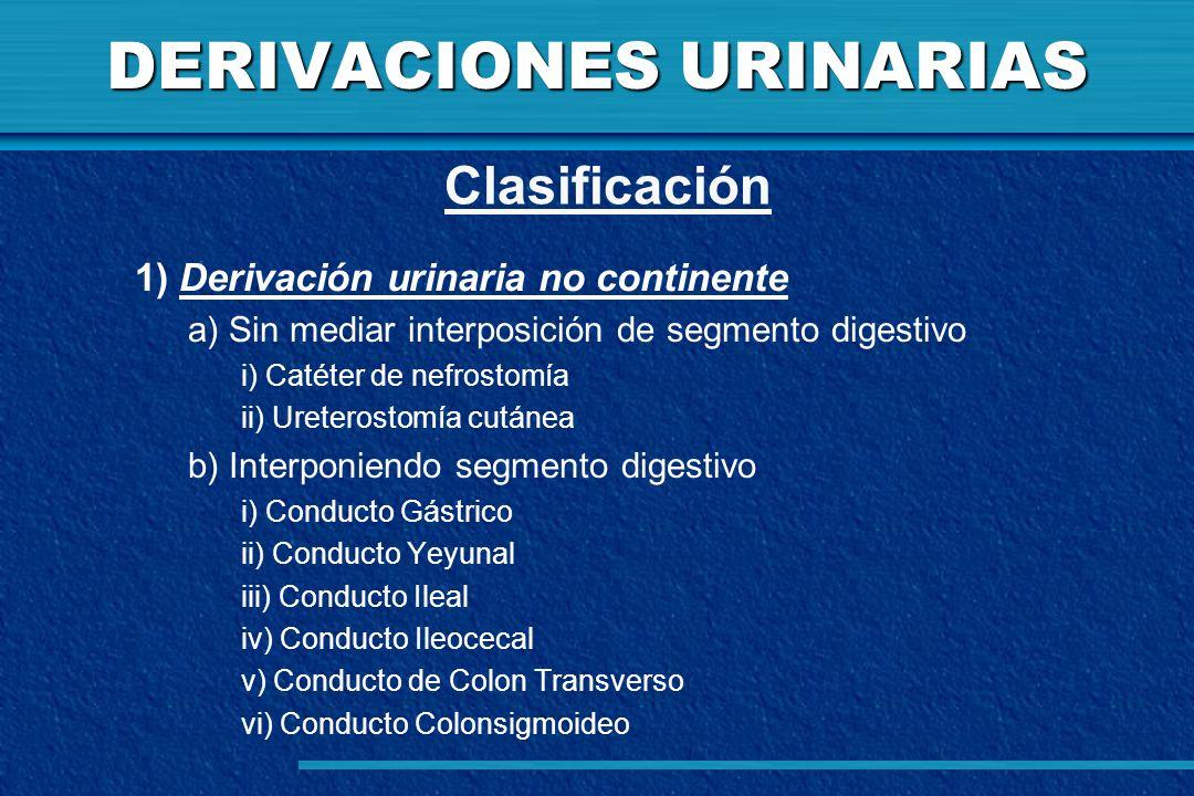 DERIVACIONES URINARIAS 1) Derivación urinaria no continente a) Sin mediar interposición de segmento digestivo i) Catéter de nefrostomía ii) Ureterosto