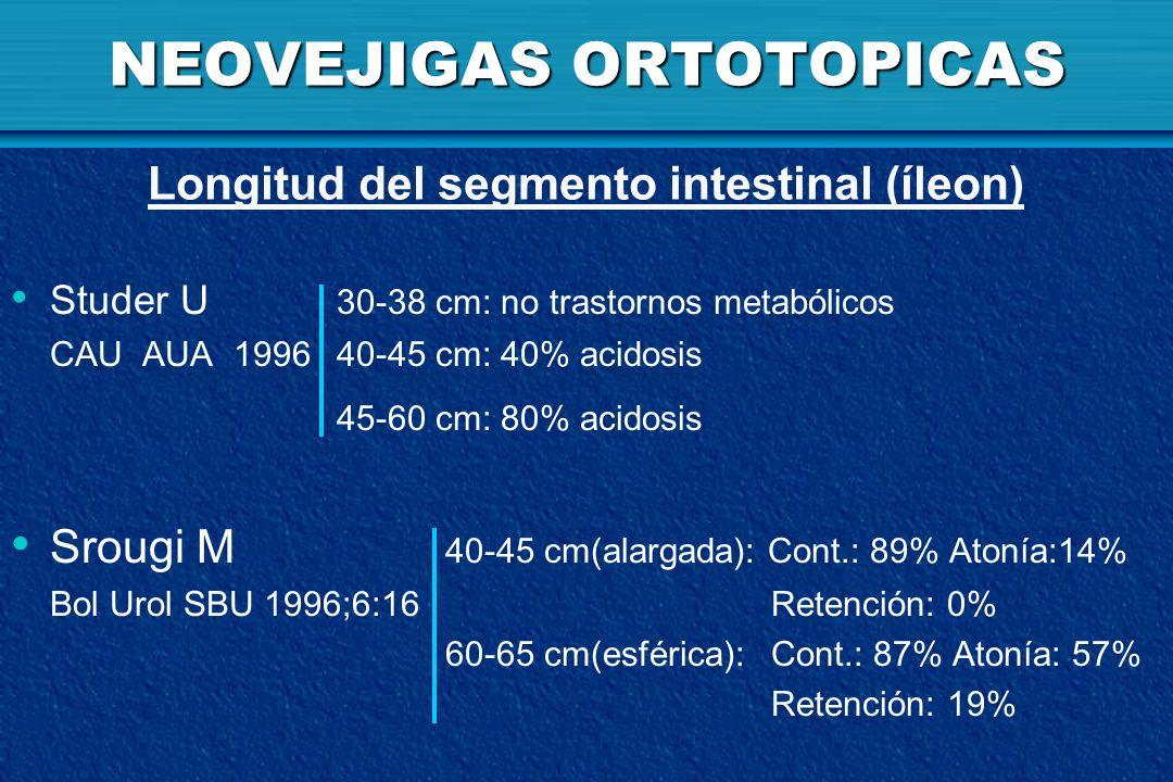 NEOVEJIGAS ORTOTOPICAS Studer U 30-38 cm: no trastornos metabólicos CAU AUA 199640-45 cm: 40% acidosis 45-60 cm: 80% acidosis Srougi M 40-45 cm(alarga