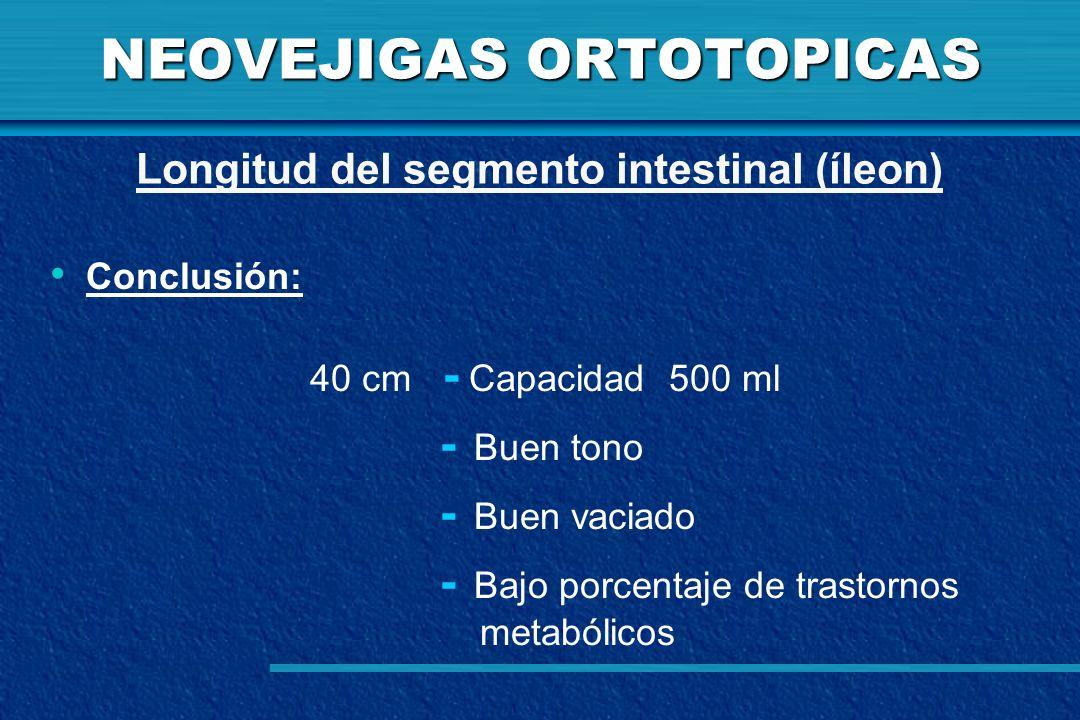 NEOVEJIGAS ORTOTOPICAS Conclusión: 40 cm - Capacidad 500 ml - Buen tono - Buen vaciado - Bajo porcentaje de trastornos metabólicos Longitud del segmen