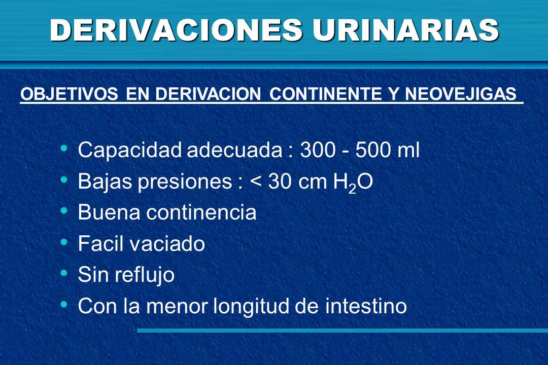 DERIVACIONES URINARIAS Capacidad adecuada : 300 - 500 ml Bajas presiones : < 30 cm H 2 O Buena continencia Facil vaciado Sin reflujo Con la menor long