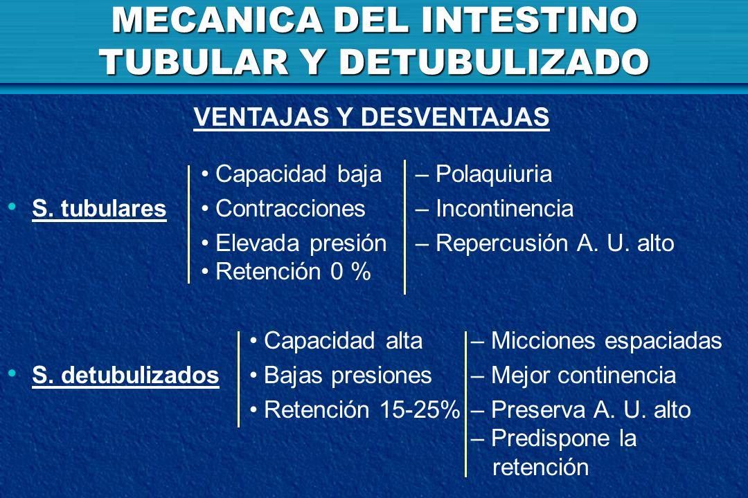 MECANICA DEL INTESTINO TUBULAR Y DETUBULIZADO Capacidad baja – Polaquiuria S. tubulares Contracciones – Incontinencia Elevada presión – Repercusión A.