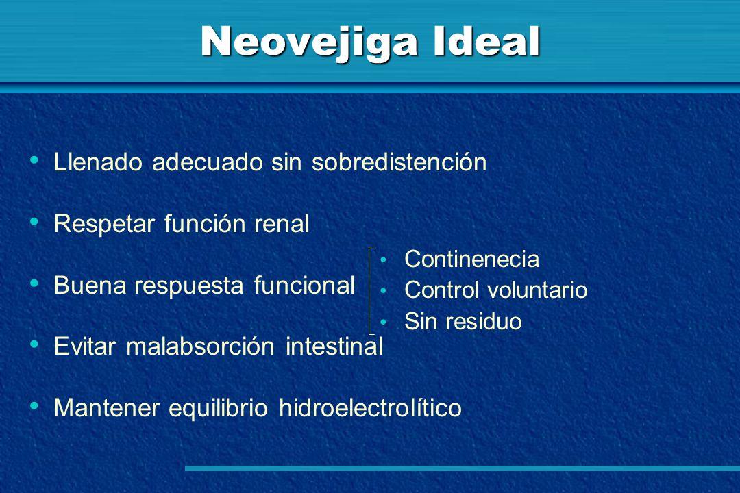 Neovejiga Ideal Llenado adecuado sin sobredistención Respetar función renal Buena respuesta funcional Evitar malabsorción intestinal Mantener equilibr