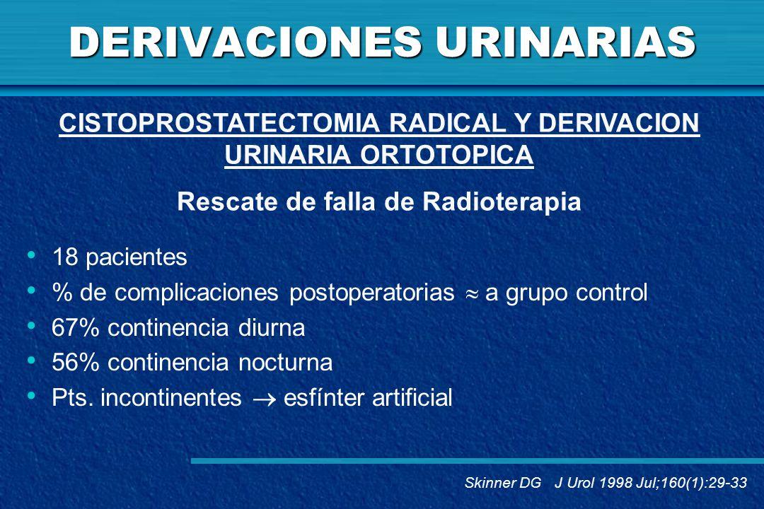DERIVACIONES URINARIAS 18 pacientes % de complicaciones postoperatorias a grupo control 67% continencia diurna 56% continencia nocturna Pts. incontine