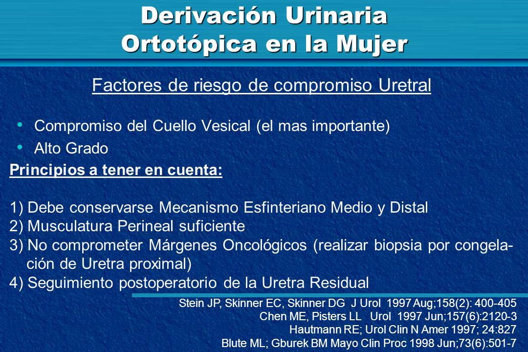 Derivación Urinaria Ortotópica en la Mujer Compromiso del Cuello Vesical (el mas importante) Alto Grado Factores de riesgo de compromiso Uretral Princ