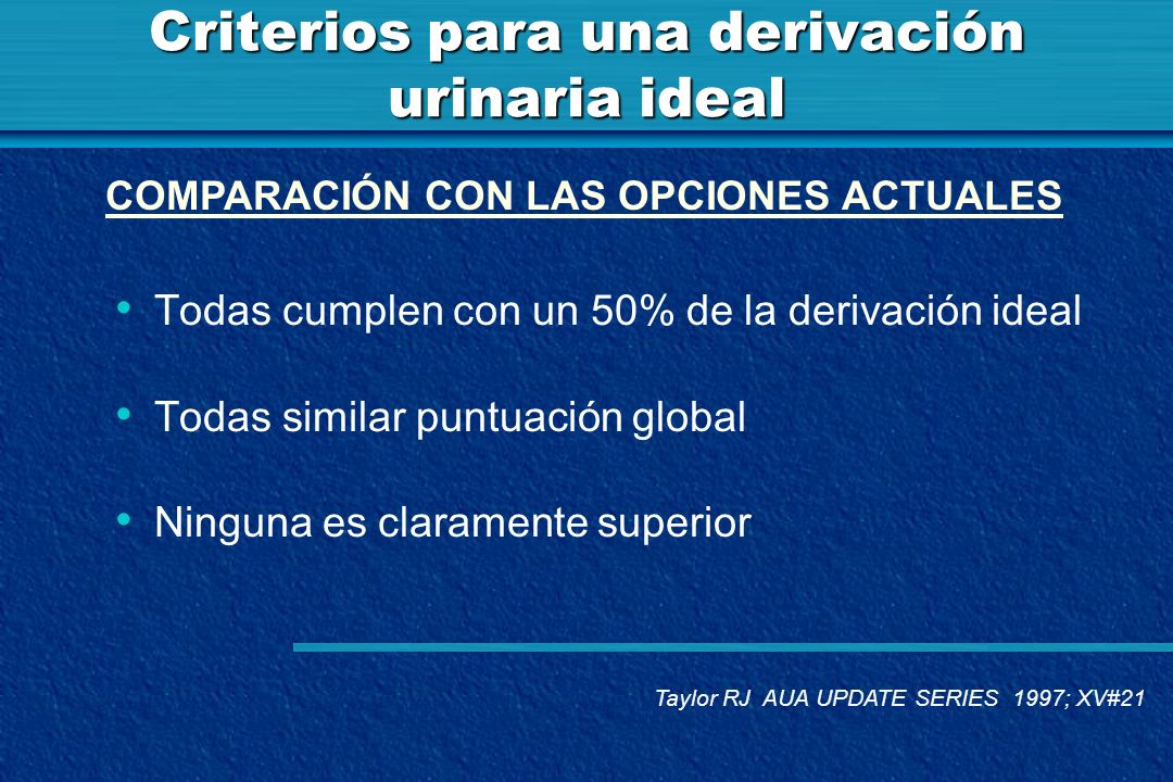 Criterios para una derivación urinaria ideal Todas cumplen con un 50% de la derivación ideal Todas similar puntuación global Ninguna es claramente sup